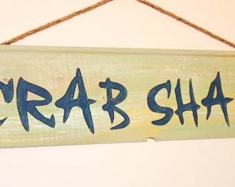 Crab Shack- cypress wood plank sign with sisal rope hanger