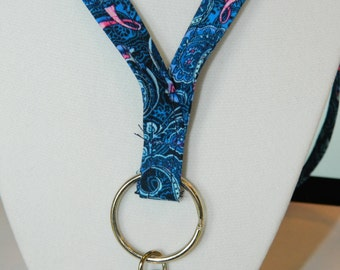 Blue Paisley Breast Cancer Awareness Fabric Lanyard