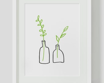 Minimalist Small Plants INSTANT DOWNLOAD Illustration Art, Green Printables, Minimalist, Illustration Artwork, Digital Art