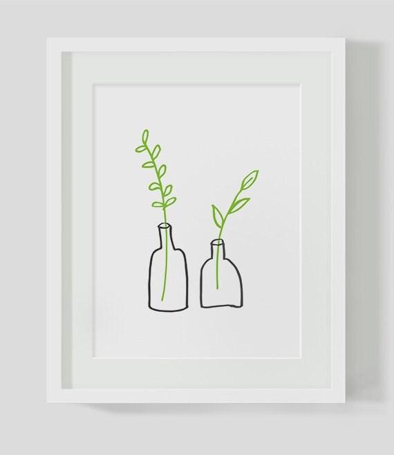 Minimalist small plants instant download illustration art for Minimal artwork