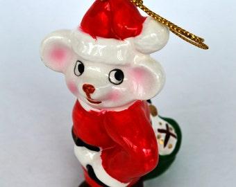 F.W. Woothworth Co. Ceraminc Santa Mouse Christmas Figurine Ornament with Original Box