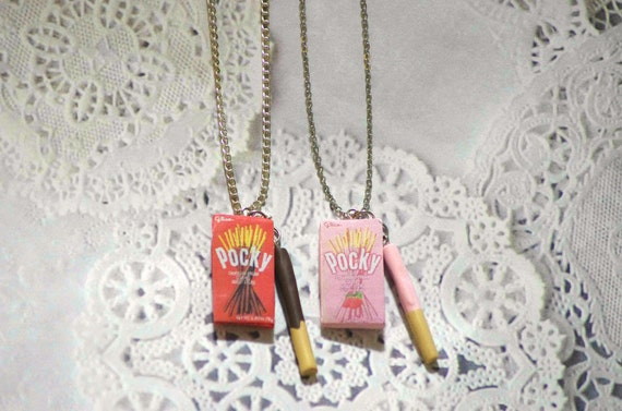 Kawaii friendship Pocky Strawberry Chocolate Necklace