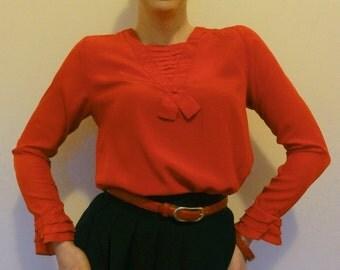 japanese vintage silk blouse ~ stunning pillar box red vamp 70s womens shirt ~ size xs