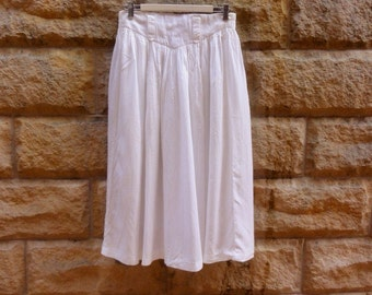 Vintage cotton skirt Soft white 80s cotton casual high waisted skirt ~ size S