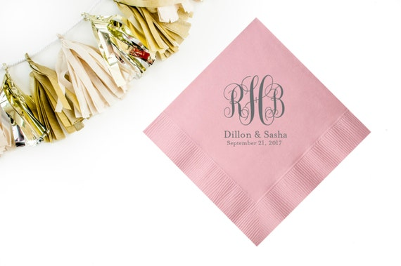 Monogramed Cocktail Napkins Personalized Cocktail Napkins Wedding Napkins Party Napkins