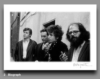 Biograph: Bob Dylan Blank Greeting Card, Allen Ginsberg, Michael McClure, Robbie Robertson, 1965, Rare, Vintage, Signed Print, Collectable
