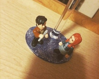 Doctor Who Doctor and Amy Wine Glass