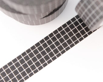 Washi Tape - 1 Roll of Black Grid Tape