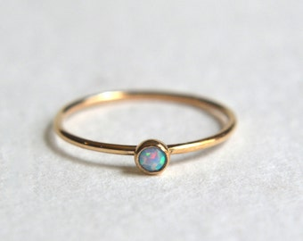 Gold Blue Opal Ring, Blue Opal Ring Gold, Gold Stacking Ring, Stackable Ring, Gold Filled Opal Ring, Dainty Ring, Delicate Ring