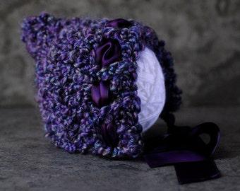 Newborn Pixie Hat, Chunky Crochet Bonnet With Satin Ribbon, Newborn Photo Prop