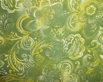Green Quilting Fabric with Gold Highlights