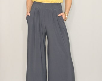Wide leg pants Gray pants with pockets Women trousers