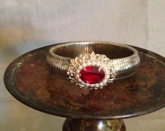 Coro Ruby Red Rhinestone Bracelet