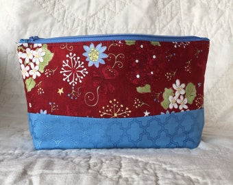 Large Essential Oil Bag - Flowers - Blues, Red