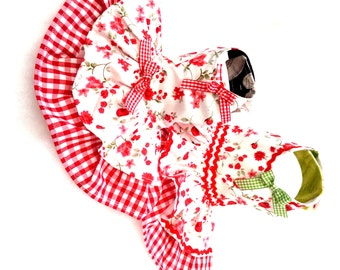 Small dog clothes dress Chihuahua T - cup puppy Yorkie coat Harness Party red flowers XXS, XS