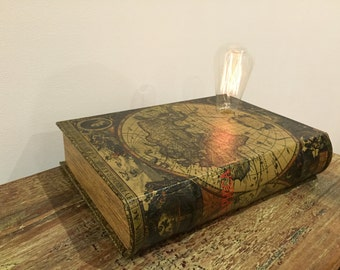 Dimmable Vintage Atlas BookBox Lamp