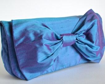 Blue Clutch Bag, Silk Clutch bag, Clutch Purse, Bag with a Bow, Clutch bags