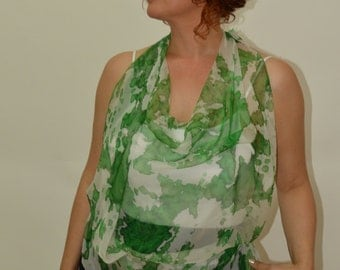 "Hand painted silk scarf ""Smell of greenery"", white, pine green and green. Size 35"" x 35"" square. Chiffon."