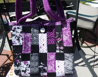 Quilted Purple and Black Tote w makeup bag