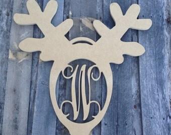 Wooden Monogram letter Reindeer