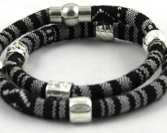 Wrap bracelet ethno style with magnetic closure