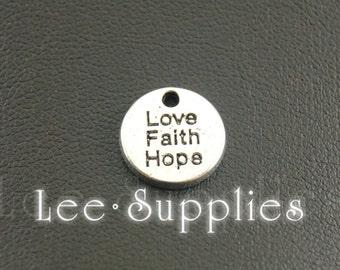30pcs Antique Silver Alloy Faith Hope Love Round Charms Pendant A1197