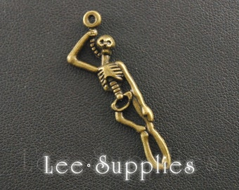 10pcs Antique Bronze Alloy  2 Sided Skeleton Body Charms Pendant A142