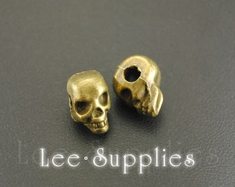 10pcs Antique Bronze Alloy  Amazing Detail Skull Spacer Beads Charms Pendant A424