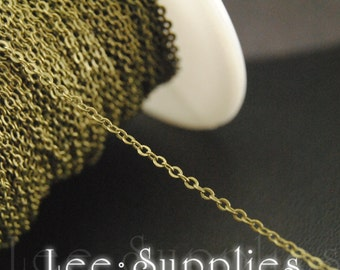 1.5mm Antique Bronze Plated Brass Flat Cable Necklace Chain- Soldered C25
