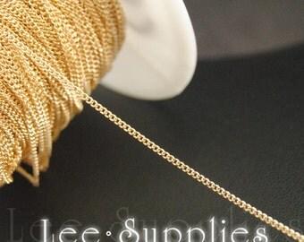1mm KC Gold Finsh Metal Brass Curb Necklace Chain C53