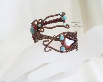 Copper bracelet with agate and Red Ruby crystals amazzoniti