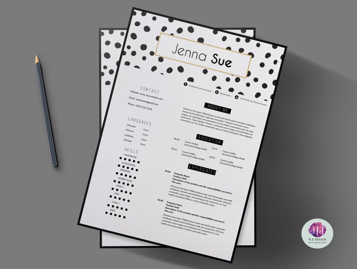 modern chic 2 page resume template cover letter template