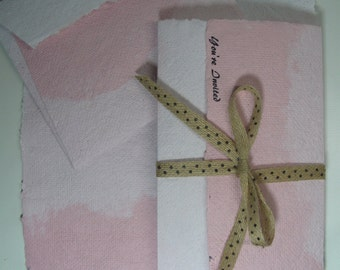 """Ombre pink recycled paper/ Pink Handmade Recycled Paper/ Rustic Paper Invitation/ 8 1/2"""" x 11"""" 10 sheets"""