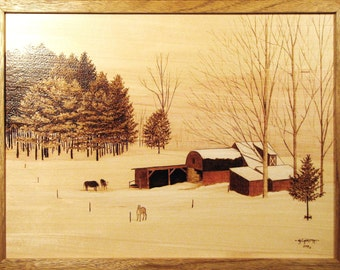 Small Vermont Hill Farm Woodburning Art, Oil Pencil