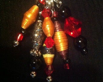 Hand Rolled Paper bead Necklace Charm