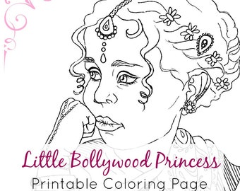 Indian Girl Coloring Page | Adult Coloring Book Page Printable | Ethnic Fashion Coloring | Digital Stamp