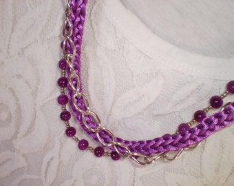 purple knitted necklace purple necklace layered necklace statement necklace purple chunky necklace purple layering necklace free shipping