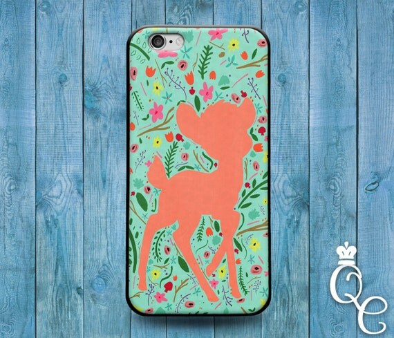 iPhone 4 4s 5 5s 5c SE 6 6s 7 plus iPod Touch 4th 5th 6th Gen Cover Case Cute Baby Deer Floral Colorful Pink Green Girly Animal Rubber Cool