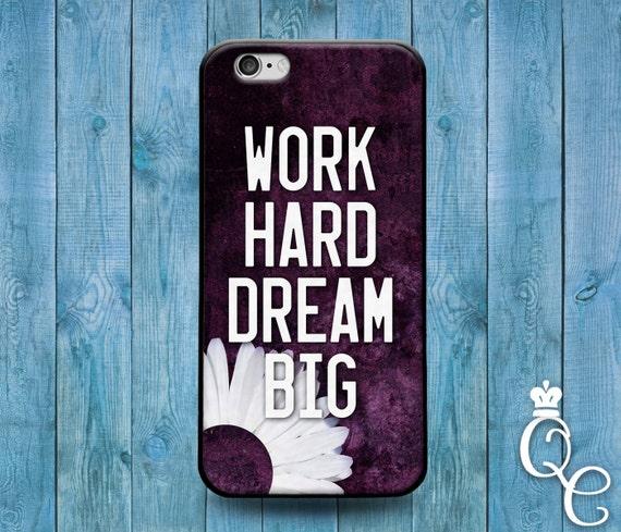 iPhone 4 4s 5 5s 5c SE 6 6s 7 plus iPod Touch 4th 5th 6th Gen Cool Phone Work Hard Dream Big Quote Cover Cute Fun Black Sun Flower Case