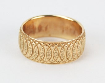 Vintage 14k Solid Yellow Gold Wedding Band Interlocking Ovals Pattern
