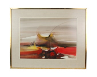 Vintage Modern Abstract Expressionist Watercolor Painting Signed Verborgt
