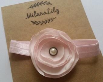 Light Pink Flower Headband. Newborn. Baby Girl.