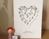 Silver butterfly thank you card for social worker
