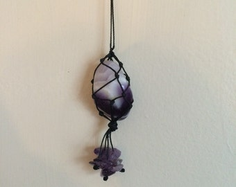 Chevron Amethyst Macrame Knotted Crystal Healing Necklace