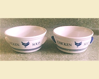 Vintage White Chicken Soup Bowls By FTDA 1980s, Vintage Soup Bowls, Retro Chicken Soup Bowls