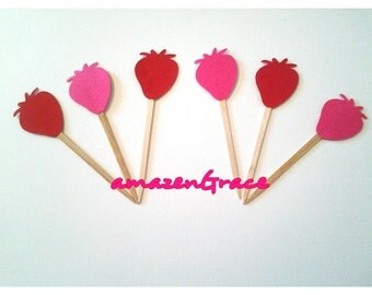 20 Ready to ship strawberry cupcake  topper or food pick