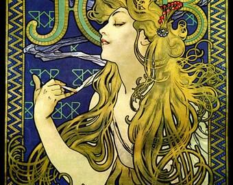 Mucha Fashion Blond Girl Smoking Job by Alphonse Mucha Vintage Poster Repro FREE SHIPPING