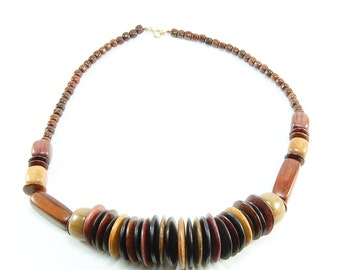 Mixed Tropical Wood Disc Necklace