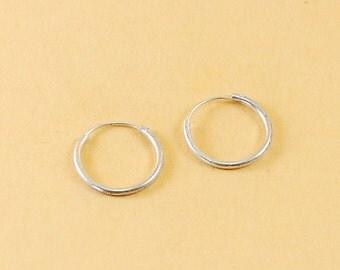 925 Sterling Silver 14mm Hoops Earrings