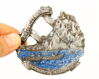 Vintage 1970's Germany souvenir Metal German souvenir collectible badge LORELEY St Goar Wandertag 1978 Walk Trekking Hiking River sports